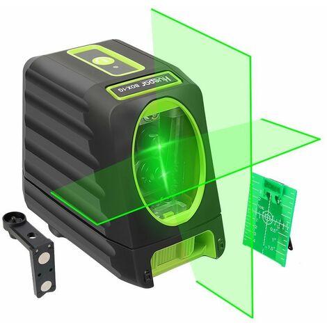 Huepar BOX-1G Niveau Laser Croix Vert, Ligne Laser Auto-nivellement avec Mode Puls¨¦ Ext¨¦rieur, Commutable Laser Lignes H130¡ã/ V150¡ãAngle de couverture, Distance de Travail 25m, Base Magn¨¦tique Incluse