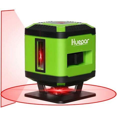 Huepar FL360R 1 x 360 Niveau Laser au sol pour Carrelage Pose, Laser ¨¤ Croix Rouge Auto-nivellement Commutable Ligne Horizontale de 360 degr¨¦s, 10m Rayon de Travail (Utilisation en Int¨¦rieur)