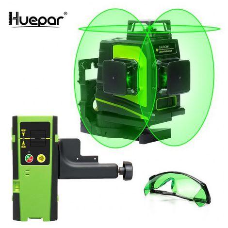 Huepar GF360G Nivel de láser verde 3D autonivelante Nivel 3 líneas cruzadas Línea cruzada de 45 m Herramienta de nivelación y nivelación en tres planos: dos líneas verticales de 360 ° y una línea horizontal de 360 °