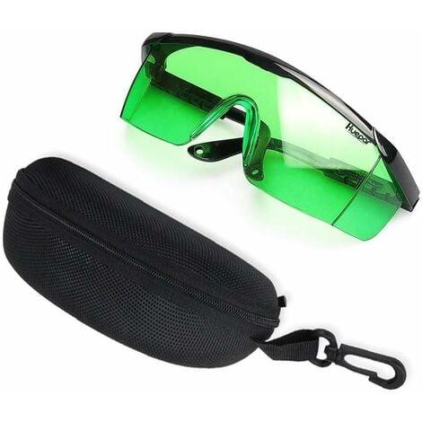 Huepar GL01G Lunettes d'Amélioration Laser Vert - Lunettes de Sécurité pour Niveau Laser, Laser Rotatif et Laser Multiligne Vert - Améliorer la Visibilité du Faisceau Vert (Boîte Includes)
