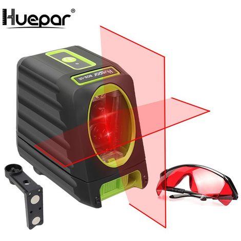 Huepar Línea láser de alineación autonivelante, nivel láser rojo BOX-1R Nivel láser de línea cruzada para exteriores de 30m con una selección de haz láser vertical y horizontal de 150°