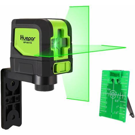 Huepar Niveau Laser Croix Vert, avec Auto-nivellement et Fonction d'inclinaison pour DIYer, H110¡ã/ V110¡ã Angle de couverture, Distance de Travail 15m, Support Magn¨¦tique Incluse - 9011G