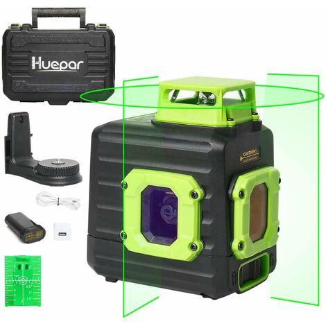 Huepar Niveau Laser Multi-lignes avec Batterie Li-ion Rechargeable, Niveau Laser Vert Auto-nivellement, Batterie Li-ion avec Port de Charge de Type-C et ?tui de Transport ¨¤ Coque Rigide Inclus - B21CG