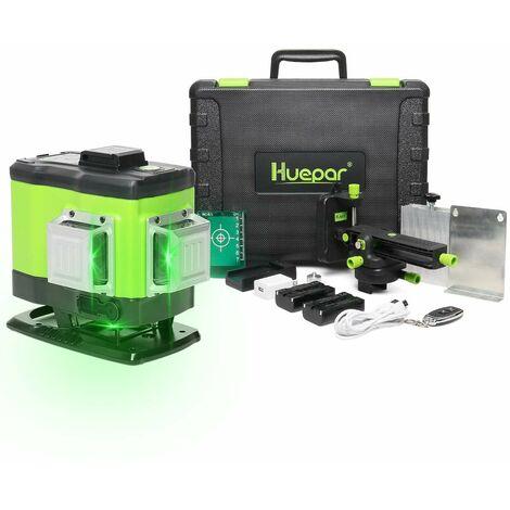 """main image of """"Huepar Niveau Laser Vert au Sol ¨¤ 3x360 avec Batterie Li-ion Rechargeable, Laser Level Auto-nivellement Commutable ¨¤ 360¡ã, Batterie Li-Ion de Rechange et Sac ¨¤ Outils Portable Inclus - 503DG"""""""