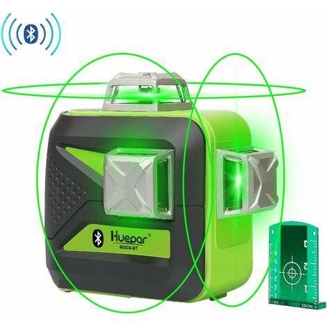 Huepar Niveau Laser Vert avec Bluetooth 3x360, Auto-nivellement Commutable Trois Lignes Laser ¨¤ 360¡ã, Laser Level avec Fonction de Connexion Bluetooth et Mode Puls¨¦, Visibilit¨¦ R¨¦glable - 603CG-BT