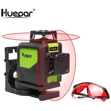 Huepar Red Cross Line Nivel láser Autonivelante 8 líneas 360 Láseres horizontales verticales con modo de pulso para exteriores y gafas láser
