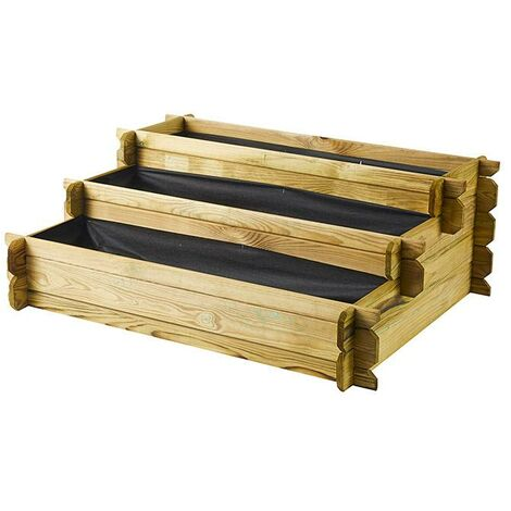 Huerto de madera de pino en escalera