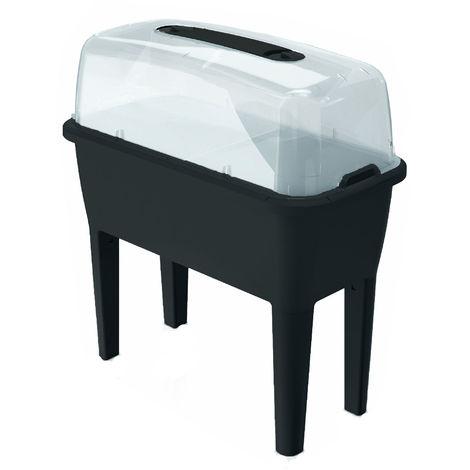 Huerto Urbano con invernadero de 52 litros en polipropileno 77 x 38 x 82 cm color antracita