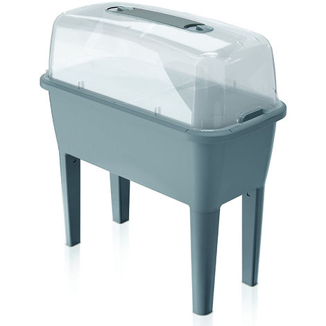 Huerto Urbano con invernadero de 52 litros en polipropileno 77 x 38 x 82 cm color gris
