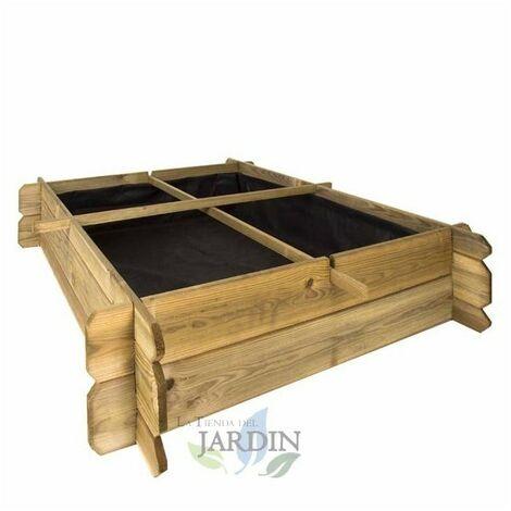 Huerto Urbano de madera 100 x 100 x 20 cm, 4 departamentos