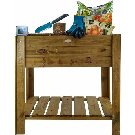 Huerto urbano de madera Gardena Easy Grove 75 L. 40x80x88 cm Kit Iniciación - KSU13080