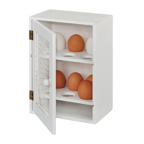 Huevera Rústica, Armario 12 Huevos, Huevero Cocina, Bandeja, 1 Ud., Madera y Metal, 25 x 18 x 12 cm, Blanco