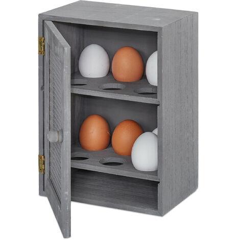 Huevera Rústica, Armario 12 Huevos, Huevero Cocina, Bandeja, 1 Ud., Madera y Metal, 25 x 18 x 12 cm, Gris