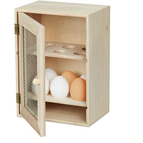 Huevera Rústica, Armario 12 Huevos, Huevero Cocina, Bandeja, 1 Ud., Madera y Metal, 25 x 18 x 12 cm, Marrón