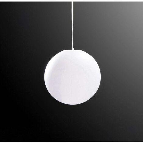 Huevo Ball Pendant Light 1 Bulb E27 Medium Outdoor IP44, opal white
