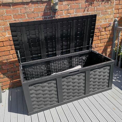 "main image of ""HUGE XXL 634 Litre Rattan Style Garden Cushion Storage Box - Sit on Lid – Black"""