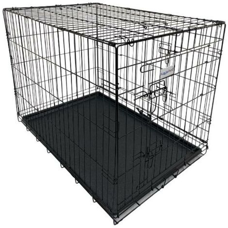 Hugglepets Dog Cage with Plastic Tray - Black - Large