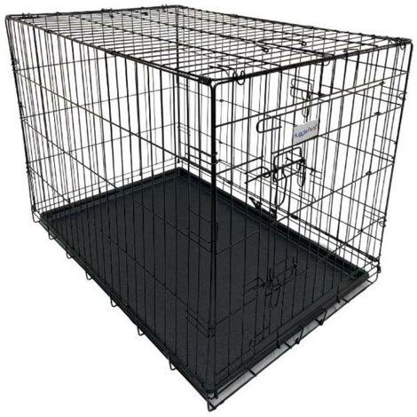 Hugglepets Dog Cage with Plastic Tray - Black - Medium
