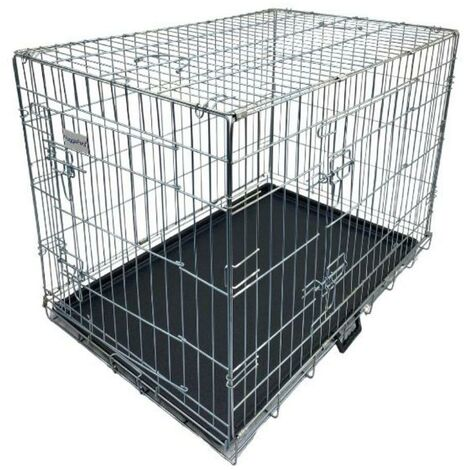 Hugglepets Dog Cage with Plastic Tray - Silver - Large
