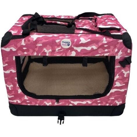 HugglePets Fabric Crate - Large Camo Pink
