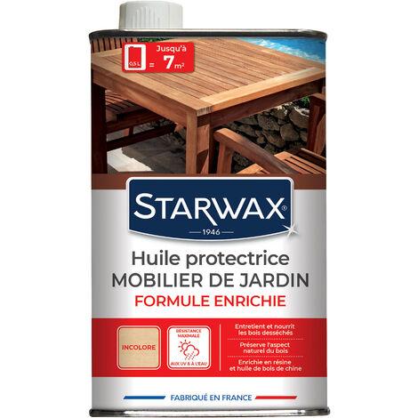Huile haute protection teck & bois exotiques pour mobilier de jardin incolore 1L STARWAX