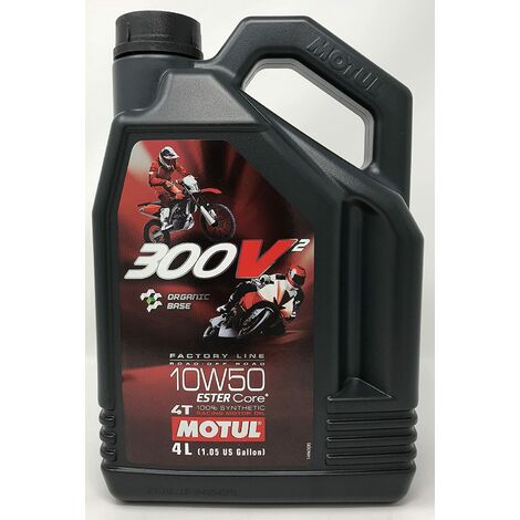Huile Lubrifiant Moto - Motul 300V2 4T Factory Line Road Racing 10W-50, 4 litres