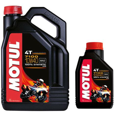 Huile moteur moto MOTUL 5100 4T 10W40 100% synthèse 4L + 1L offert
