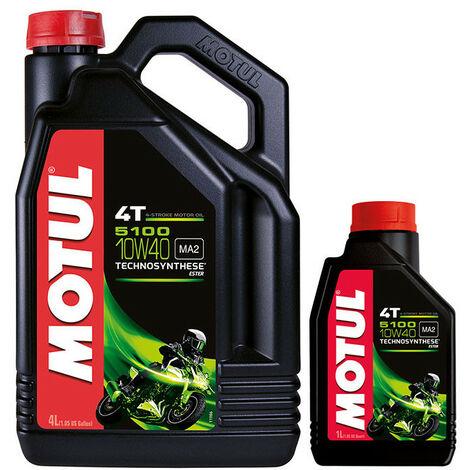 Huile moteur moto MOTUL 5100 4T 10W40 Semi-synthèse 4L + 1L offert