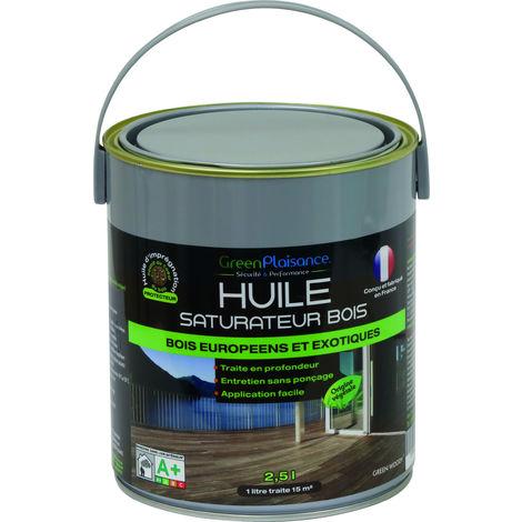 HUILE SATURATEUR TERRASSE BOIS origine végétale Hydrofuge-2,5Litres GreenPlaisance 09946