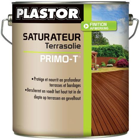 Huile / saturateur Terrasse Plastor solvanté Primo T (1L et 5L) : Nourris et protège vos terrasses en teck, bois exotique, pin et bois traité autoclave