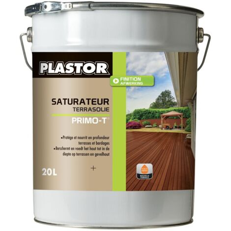 Huile / saturateur Terrasse Plastor solvanté Primo T haute durabilité (1L et 5L) : Nourris et protège vos terrasses en teck, bois exotique, pin et bois traité autoclave