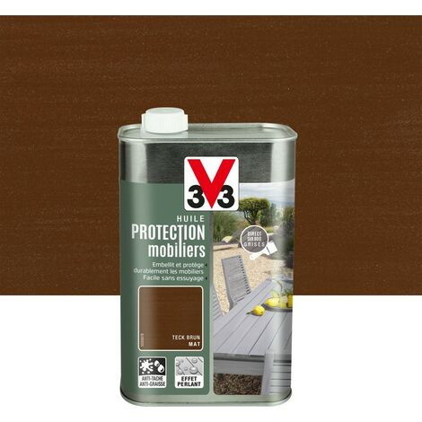 Huile V33 Protection mobilier opaque teck brun mat, 1 l