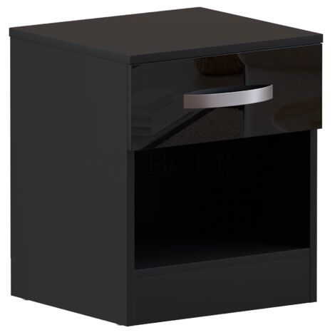 Hulio 1 Drawer Bedside Cabinet, Black
