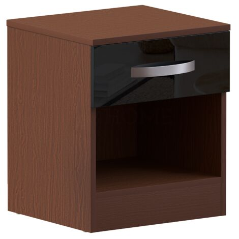 Hulio 1 Drawer Bedside Cabinet, Walnut & Black