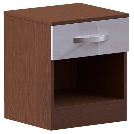 Hulio 1 Drawer Bedside Cabinet, Walnut & White