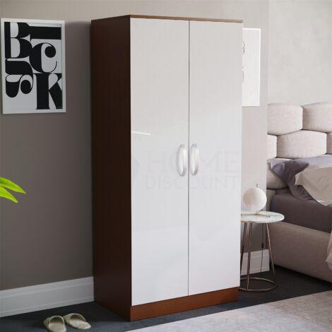 Hulio 2 Door Wardrobe, Walnut & White
