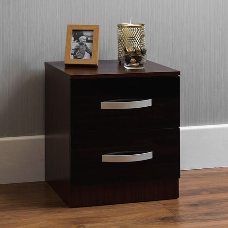 Hulio 2 Drawer Bedside Cabinet, Walnut & Black
