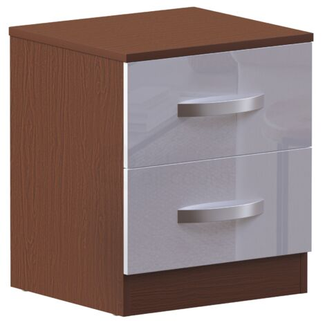 Hulio 2 Drawer Bedside Cabinet, Walnut & White