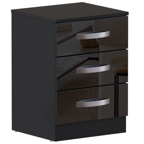 Hulio 3 Drawer Bedside Cabinet, Black