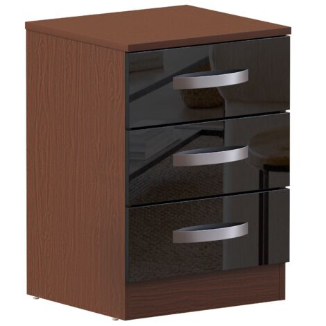 Hulio 3 Drawer Bedside Cabinet, Walnut & Black
