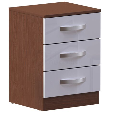 Hulio 3 Drawer Bedside Cabinet, Walnut & White