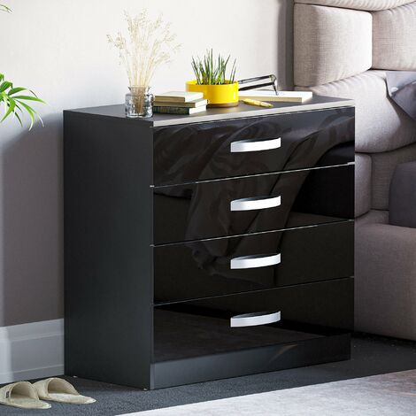Hulio 4 Drawer Chest, Black