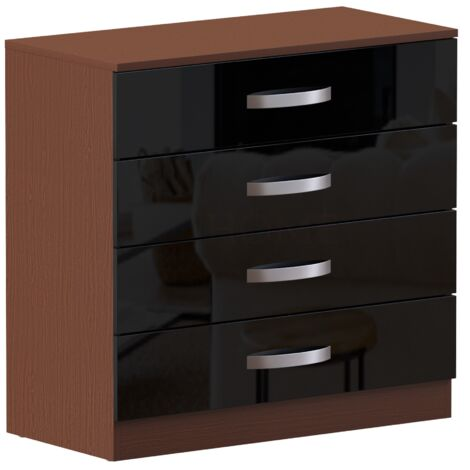 Hulio 4 Drawer Chest, Walnut & Black