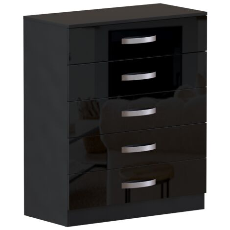 Hulio 5 Drawer Chest, Black