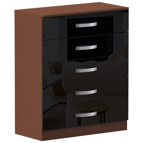 Hulio 5 Drawer Chest, Walnut & Black