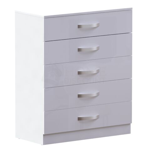 Hulio 5 Drawer Chest, White