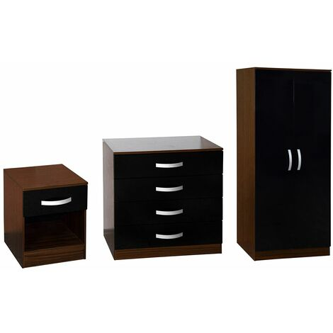 Hulio Trio Bedroom Set, Walnut & Black