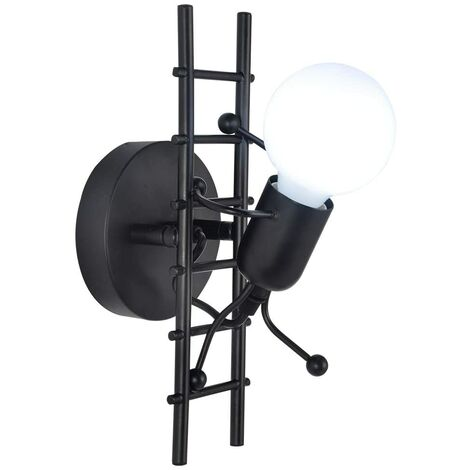 """main image of """"Humanoid Indoor Wall Light, Modern Industrial Wall Light, Simple Style Wall Lamp for Living Room Hallway Bedroom, 220V, E27 Bulb Not Included (Black)"""""""