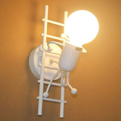 """main image of """"Humanoid Indoor Wall Light, Modern Industrial Wall Light, Simple Style Wall Lamp for Living Room Hallway Bedroom, 220V, E27 Bulb Not Included (White)"""""""