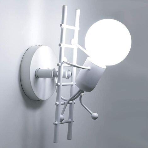 Humanoïde Créatif Applique Murale Interieur Lampe Murale Moderne Lampe de Mur Art Déco Max 60W E27 pour Chambre à Coucher, Chambre D'enfants, Couloir, Restaurant, Escalier, Cuisine, Blanc